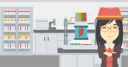 polymerization: An asian young woman with 3D printer making a heart on the background of laboratory. Woman working with 3D printer. Vector flat design illustration. Horizontal layout.