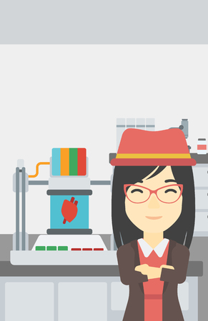polymerization: An asian young woman with 3D printer making a heart on the background of laboratory. Woman working with 3D printer. Vector flat design illustration. Vertical layout.