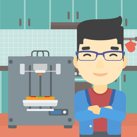 crossed arms: An asian young man working with three D printer making pizza on background of kitchen. Man with crossed arms standing near 3D printer. Vector flat design illustration. Square layout.