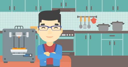 crossed arms: An asian young man working with three D printer making pizza on background of kitchen. Man with crossed arms standing near 3D printer. Vector flat design illustration. Horizontal layout. Illustration