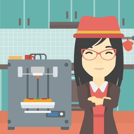 food industry: An asian young woman working with three D printer making pizza on the background of kitchen. Woman with crossed arms standing near 3D printer. Vector flat design illustration. Square layout.