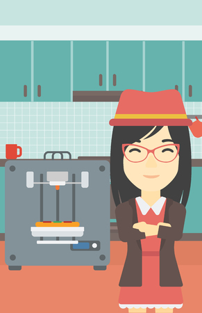 crossed arms: An asian young woman working with three D printer making pizza on the background of kitchen. Woman with crossed arms standing near 3D printer. Vector flat design illustration. Vertical layout.