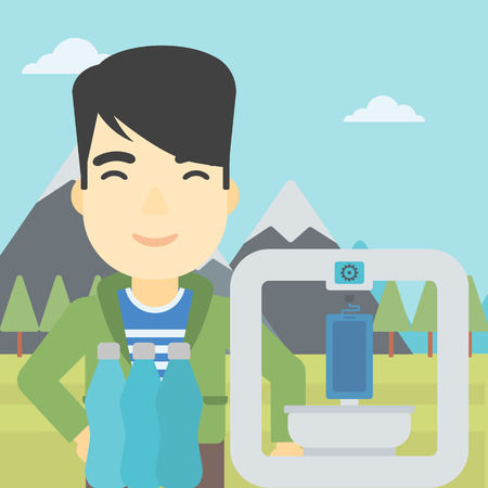 plastic bottles: An asian young man standing near 3D printer on the background of mountains. Three D printer making a smartphone using recycled plastic bottles. Vector flat design illustration. Square layout.