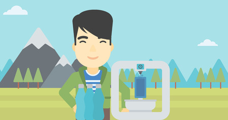 plastic bottles: An asian young man standing near 3D printer on the background of mountains. Three D printer making a smartphone using recycled plastic bottles. Vector flat design illustration. Horizontal layout. Illustration