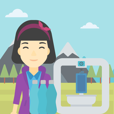 An asian young woman standing near three D printer on the background of mountains. 3D printer making a smartphone using recycled plastic bottles. Vector flat design illustration. Square layout. Illustration