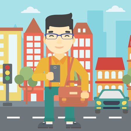An asian young man using a smartphone. Businessman with briefcase working with smartphone on a city background. Vector flat design illustration. Square layout. Illustration