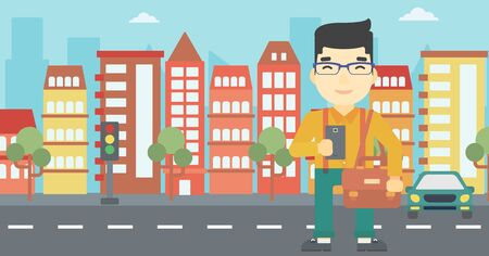 An asian young man using a smartphone. Businessman with briefcase working with smartphone on a city background. Vector flat design illustration. Horizontal layout. Illustration