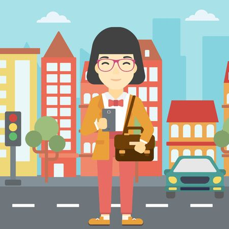 using smartphone: An asian young woman using a smartphone. Business woman with briefcase working with smartphone on a city background. Vector flat design illustration. Square layout. Illustration