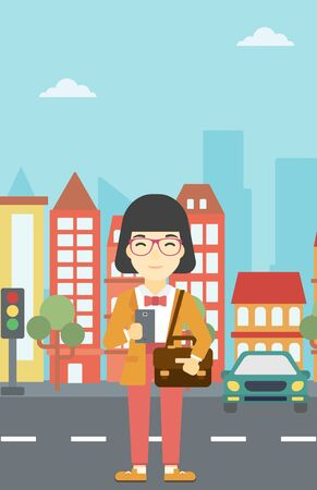 An asian young woman using a smartphone. Business woman with briefcase working with smartphone on a city background. Vector flat design illustration. Vertical layout. Illustration