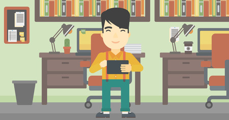 using tablet: An asian young man using a tablet computer. Businessman working with a digital tablet on the background of office. Vector flat design illustration. Horizontal layout. Illustration