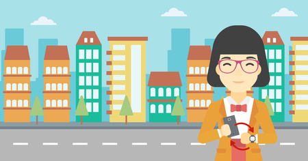smart woman: An asian young woman holding a smartphone looking at her smart watch. Concept of synchronization between smartwatch and smartphone. Vector flat design illustration. Horizontal layout.