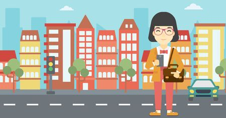 An asian young woman using a smartphone. Business woman with briefcase working with smartphone on a city background. Vector flat design illustration. Horizontal layout. Illustration