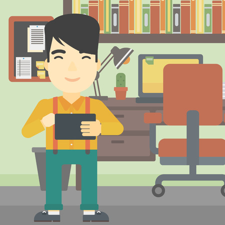 using tablet: An asian young man using a tablet computer. Businessman working with a digital tablet on the background of office. Vector flat design illustration. Square layout. Illustration