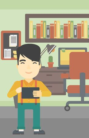 using tablet: An asian young man using a tablet computer. Businessman working with a digital tablet on the background of office. Vector flat design illustration. Vertical layout. Illustration