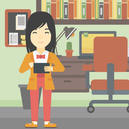 woman tablet: An asian young woman using a tablet computer. Business woman working with a digital tablet on the background of office. Vector flat design illustration. Square layout.