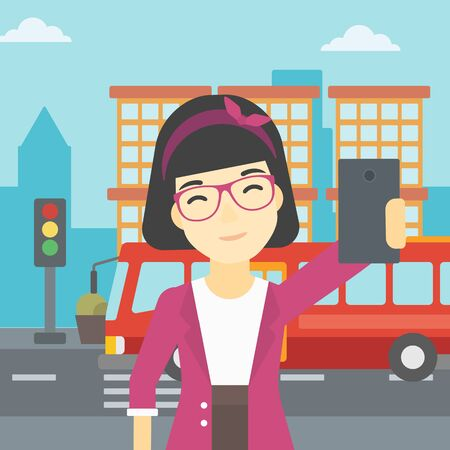 woman cellphone: An asian woman making selfie. Woman taking photo with cellphone. Woman looking at smartphone and taking selfie on the background of city. Vector flat design illustration. Square layout.
