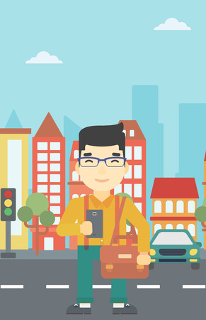 using smartphone: An asian young man using a smartphone. Businessman with briefcase working with smartphone on a city background. Vector flat design illustration. Vertical layout.
