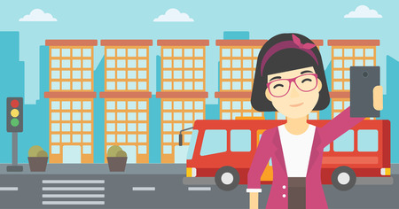 woman cellphone: An asian woman making selfie. Woman taking photo with cellphone. Woman looking at smartphone and taking selfie on the background of city. Vector flat design illustration. Horizontal layout. Illustration