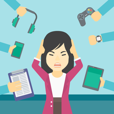 many hands: An asian woman in despair and many hands with gadgets around her. Woman surrounded with gadgets. Woman using many electronic gadgets. Vector flat design illustration. Square layout.