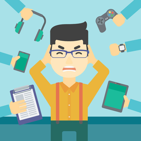 An asian man in despair and many hands with gadgets around him. Young man surrounded with gadgets. Man using many electronic gadgets. Vector flat design illustration. Square layout.