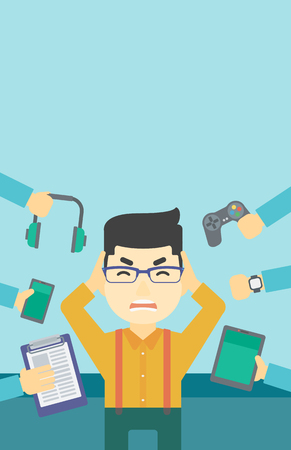 despair: An asian man in despair and many hands with gadgets around him. Young man surrounded with gadgets. Man using many electronic gadgets. Vector flat design illustration. Vertical layout.