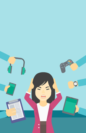 multiple ethnicities: An asian woman in despair and many hands with gadgets around her. Woman surrounded with gadgets. Woman using many electronic gadgets. Vector flat design illustration. Vertical layout.
