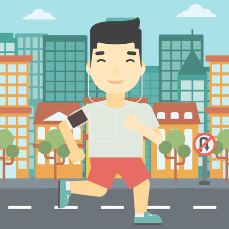 armband: An asian man running with earphones and armband for smartphone. Man listening to music during running. Man running on a city background. Vector flat design illustration. Square layout. Illustration
