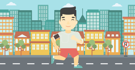 armband: An asian man running with earphones and armband for smartphone. Man listening to music during running. Man running on a city background. Vector flat design illustration. Horizontal layout.