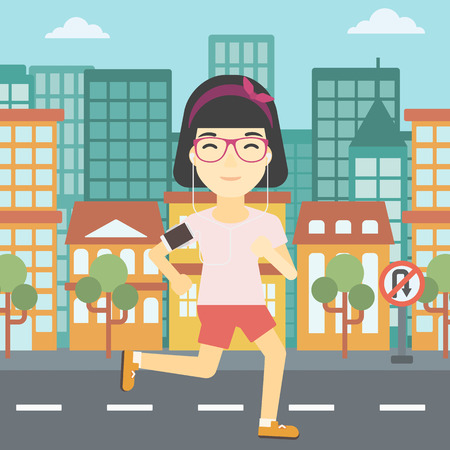 woman running: An asian woman running with earphones and armband for smartphone. Woman listening to music during running. Woman running in the city. Vector flat design illustration. Square layout.