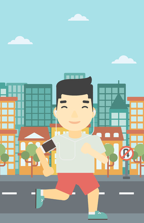 armband: An asian man running with earphones and armband for smartphone. Man listening to music during running. Man running on a city background. Vector flat design illustration. Vertical layout.