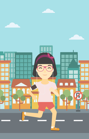 straps: An asian woman running with earphones and armband for smartphone. Woman listening to music during running. Woman running in the city. Vector flat design illustration. Vertical layout. Illustration