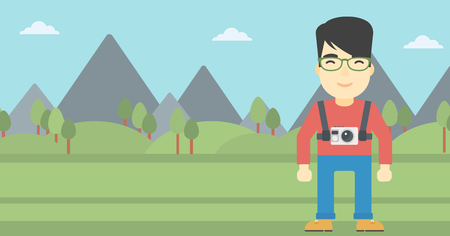 An asian man with a digital camera on his chest. Tourist with a digital camera standing on the background of mountains. Vector flat design illustration. Horizontal layout. Illustration