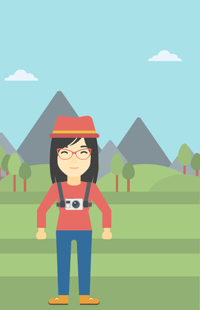 straps: An asian woman with a digital camera on her chest. Tourist with a digital camera standing on the background of mountains. Vector flat design illustration. Vertical layout.