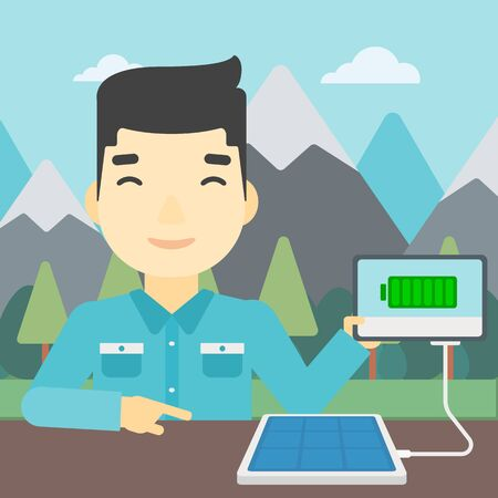 An asian man charging tablet computer with solar panel on the background of mountains. Charging digital tablet from portable solar panel. Vector flat design illustration. Square layout.