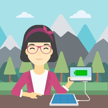 woman tablet: An asian woman charging tablet computer with solar panel on a background of mountains. Charging digital tablet from portable solar panel. Vector flat design illustration. Square layout.