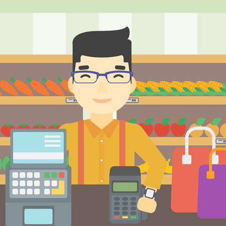 retail shopping: An asian man paying wireless with his smart watch at the supermarket. Male customer making payment for purchase with smart watch. Vector flat design illustration. Square layout.
