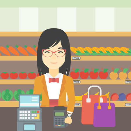 smart woman: An asian woman paying wireless with her smart watch at the supermarket. Female customer making payment for purchase with smart watch. Vector flat design illustration. Square layout.