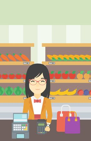 smart woman: An asian woman paying wireless with her smart watch at the supermarket. Female customer making payment for purchase with smart watch. Vector flat design illustration. Vertical layout.