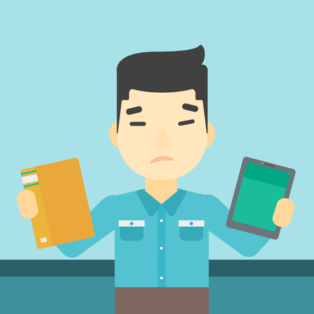 man holding book: An asian man choosing between a tablet computer and a paper book. Man holding book in one hand and tablet computer in the other. Vector flat design illustration. Square layout.