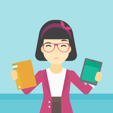 woman tablet: An asian woman choosing between tablet computer and paper book. Woman holding book in one hand and tablet computer in the other. Vector flat design illustration. Square layout.