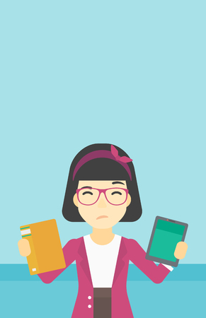 choosing: An asian woman choosing between tablet computer and paper book. Woman holding book in one hand and tablet computer in the other. Vector flat design illustration. Vertical layout.