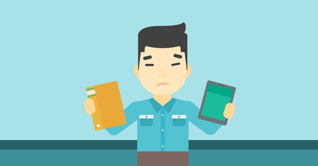man holding book: An asian man choosing between a tablet computer and a paper book. Man holding book in one hand and tablet computer in the other. Vector flat design illustration. Horizontal layout. Illustration