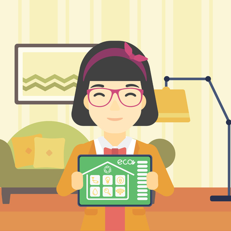 smart woman: An asian woman  showing a tablet computer with smart home application on a screen on the background of living room. Vector flat design illustration. Square layout.