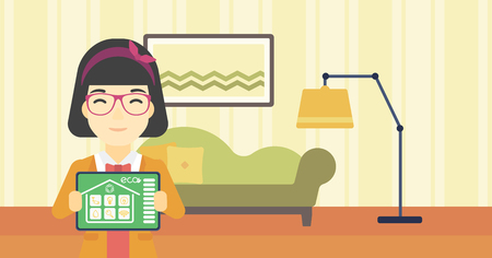 smart woman: An asian woman showing a tablet computer with smart home application on a screen on the background of living room. Vector flat design illustration. Horizontal layout.