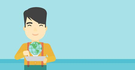 computer model: An asian man holding tablet computer with model of planet earth above the device. International technology communication concept. Vector flat design illustration. Horizontal layout. Illustration