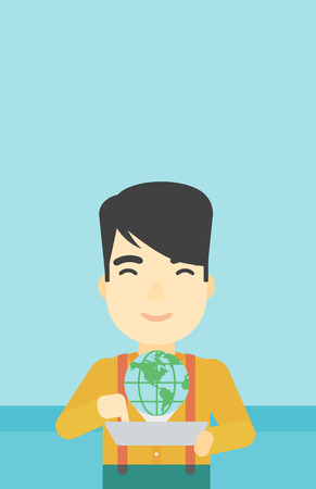 computer model: An asian man holding tablet computer with model of planet earth above the device. International technology communication concept. Vector flat design illustration. Vertical layout.