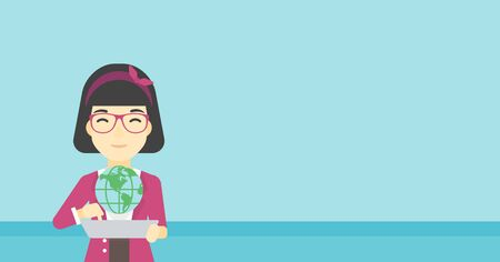 computer model: An asian woman holding a tablet computer with a model of planet earth above the device. International technology communication concept. Vector flat design illustration. Horizontal layout.