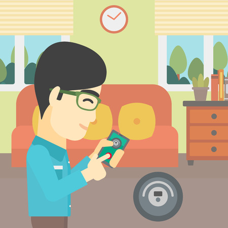 controlling: An asian man controlling robotic vacuum cleaner with his smartphone in the living room. Vector flat design illustration. Square layout.