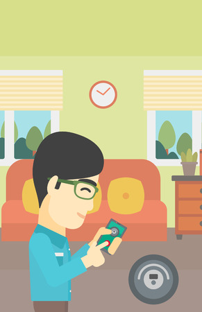 controlling: An asian man controlling robotic vacuum cleaner with his smartphone in the living room. Vector flat design illustration. Vertical layout.
