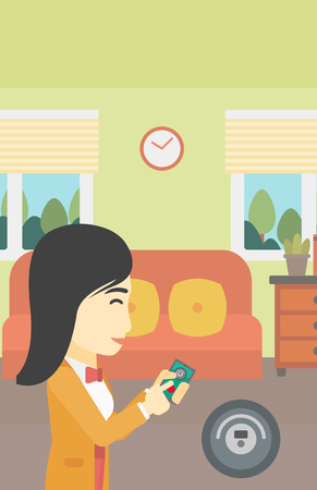 controlling: An asian woman controlling robot vacuum cleaner with smartphone. Woman holding remote control of robotic vacuum cleaner in living room. Vector flat design illustration. Vertical layout.